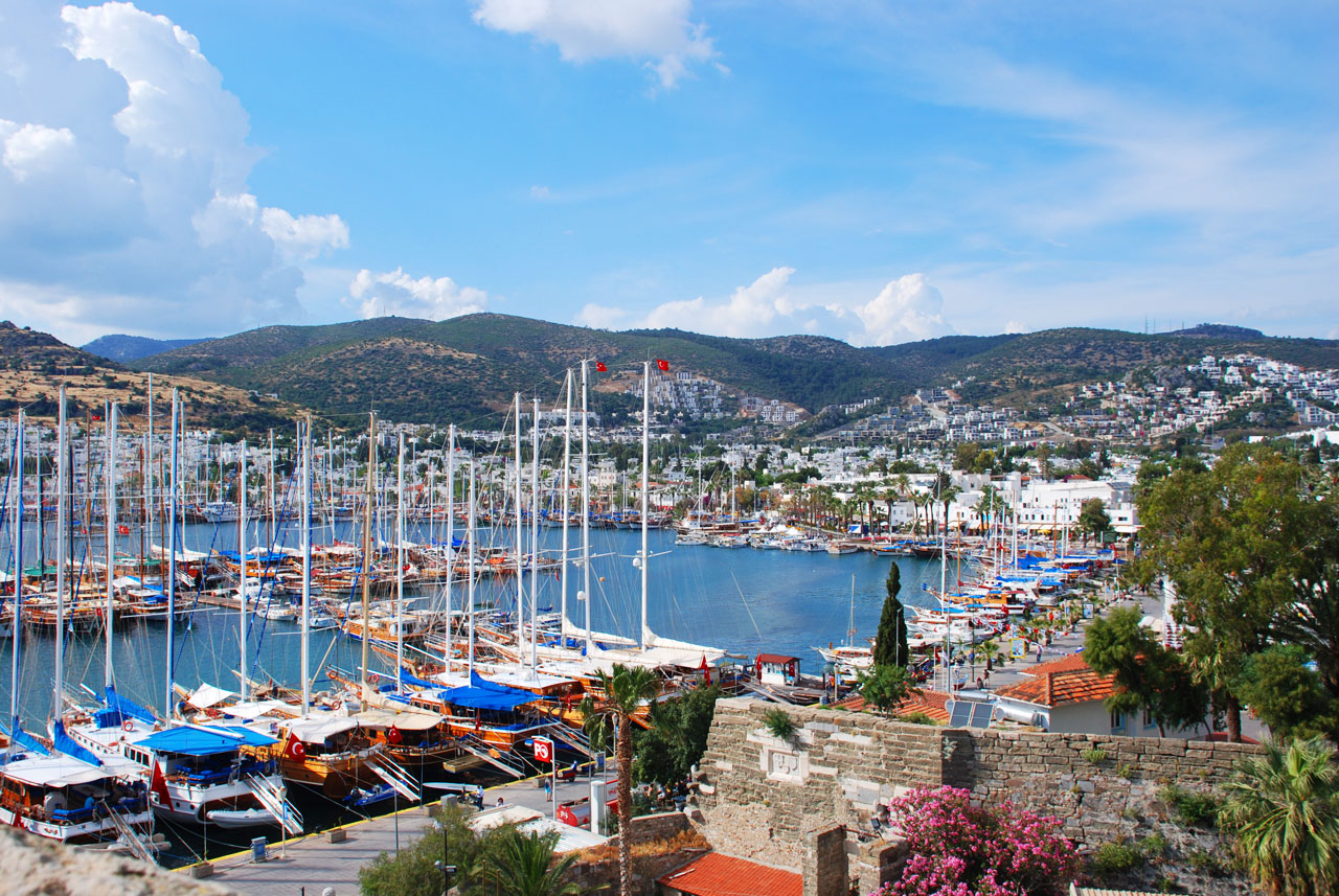 Bodrum marina with many boats and yachts offering boat trips