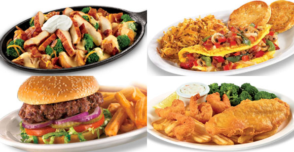 A selection of tasty dishes from Denny's