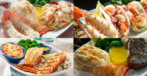 A selection of seafood dishes from the Red Lobster