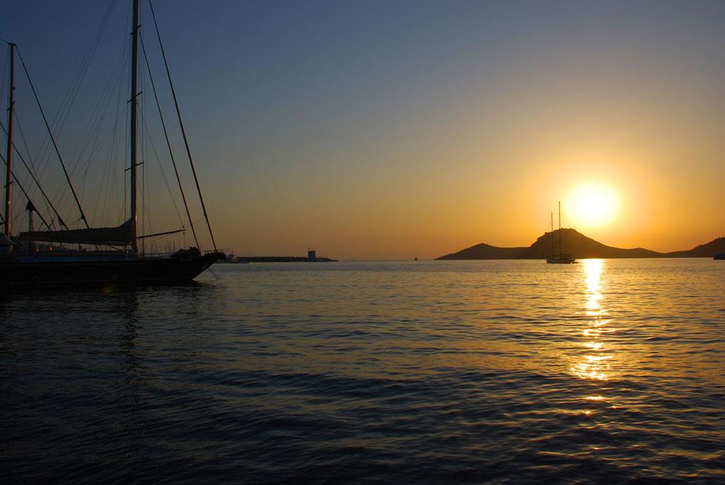 View from Yalikavak Marina showing the beautiful sunset