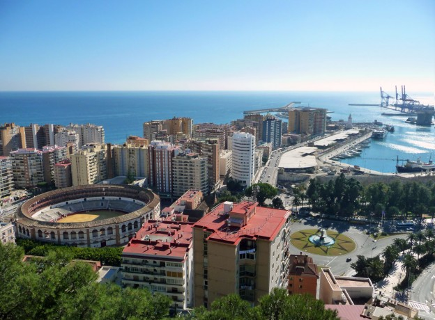 Malaga City in Spain showing the Bullring and stunning skyline