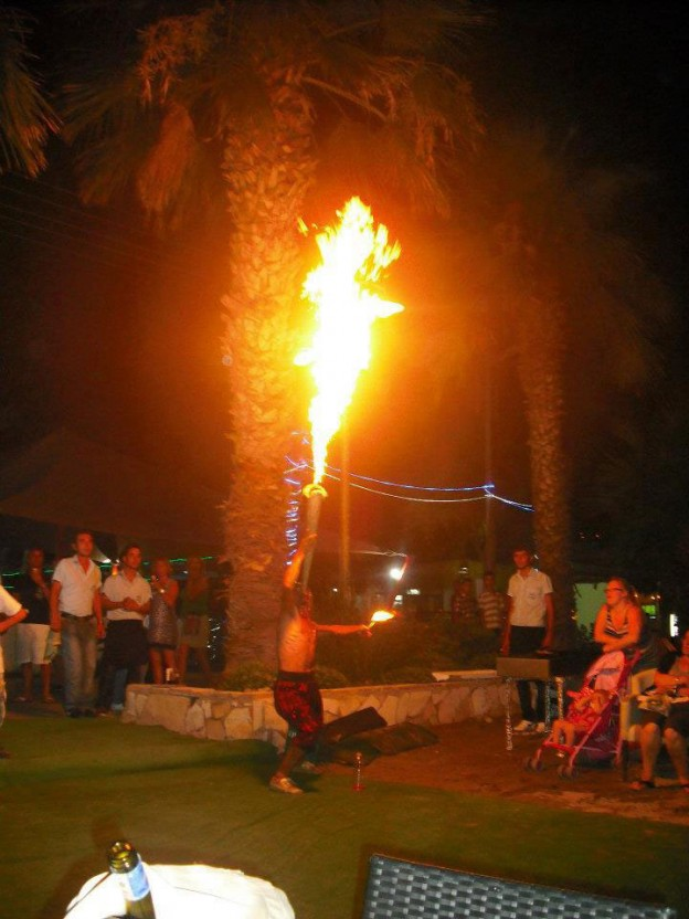 Sofis Restaurant in Yalikavak, fire breathing entertainment on the beach