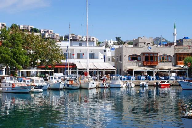 Yaliakavak old marina lined with restaurants offering beautiful sea views