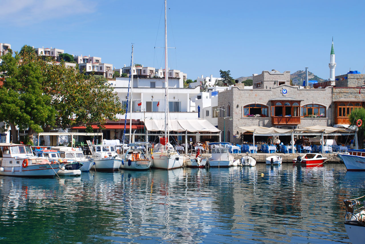 Yaliakavak old marina lined with restaurants offering beautiful sea views