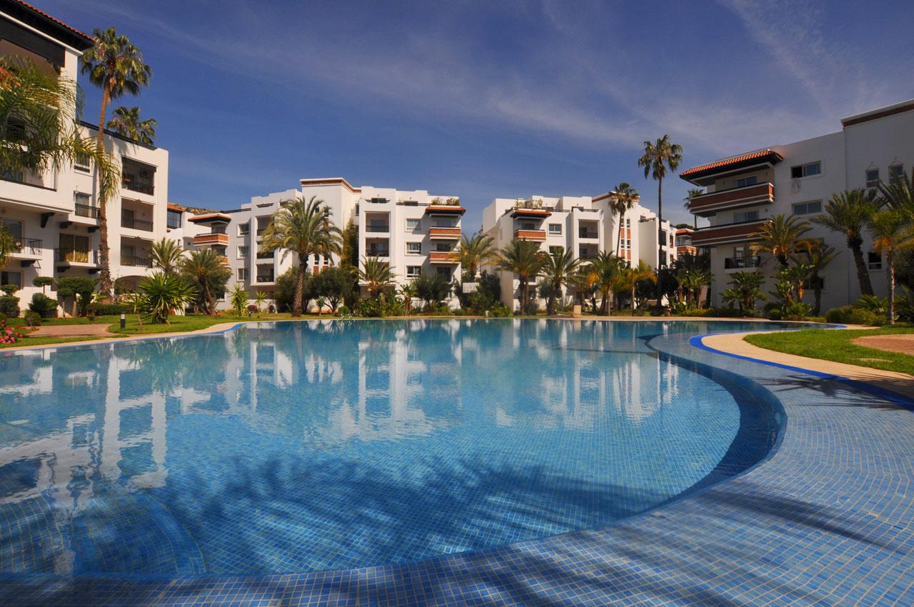 Agadir Marina, showing 1 of the 3 huge communal pools