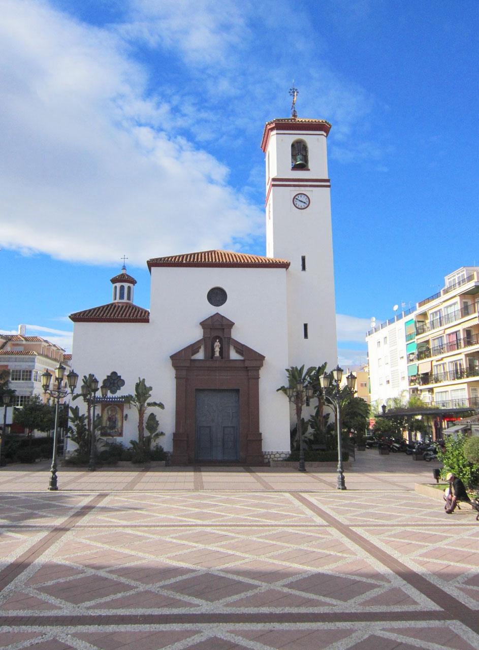 Fuengirola's  centre with the white church in the Plaza de la Constitution