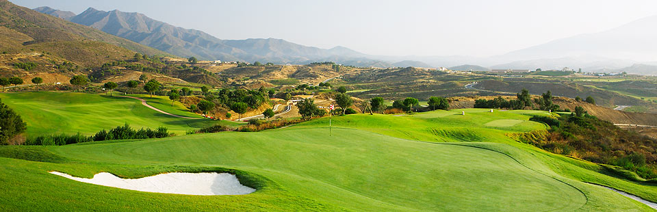 Golf in La Cala de Mijas, stunning panoramic photo across a picturesque golf course