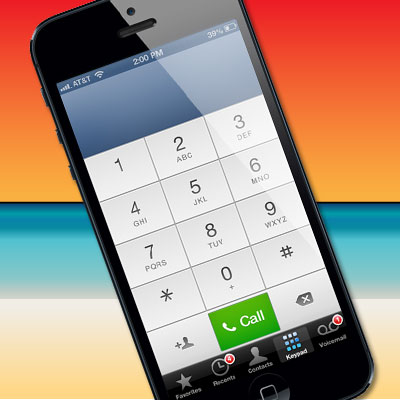 iPhone - using your Phone Abroad, showing the dial pad