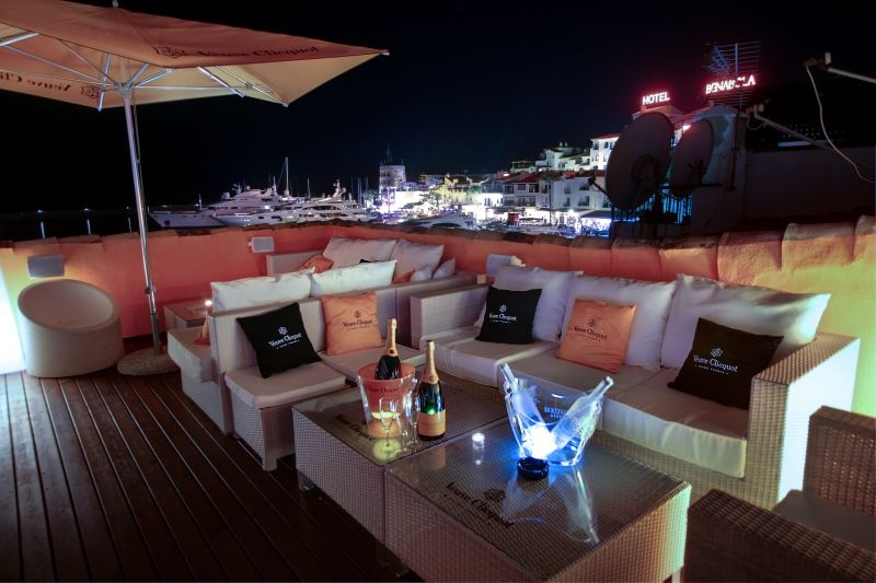 News Cafe in Puerto Banus, showing the rooftop terrace with stunning views