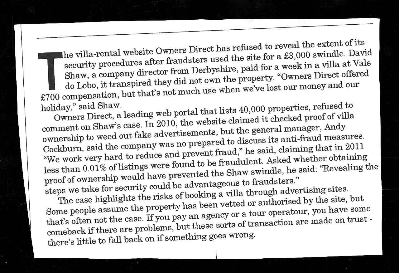Owners Direct holiday rental scam, the cutting was taken from the Sunday Times