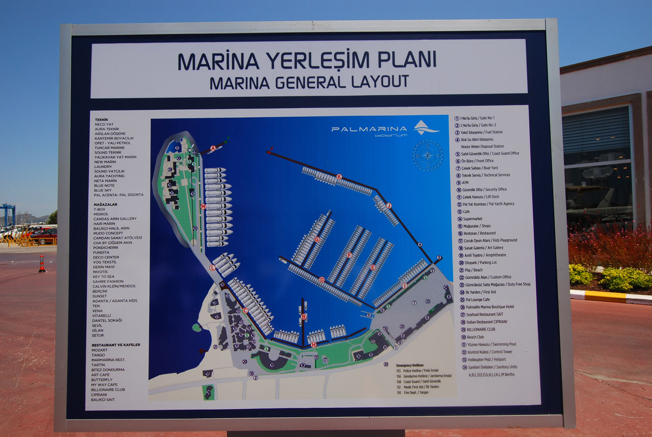 Palmarina Bodrum, sign showing the layout of the new marina