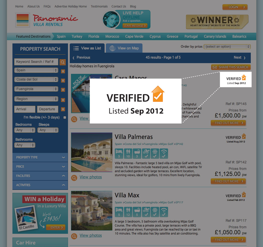 Panoramic Villas Verified Property Logo Indicates a visit by one of our agents or 3+ confirmed bookings