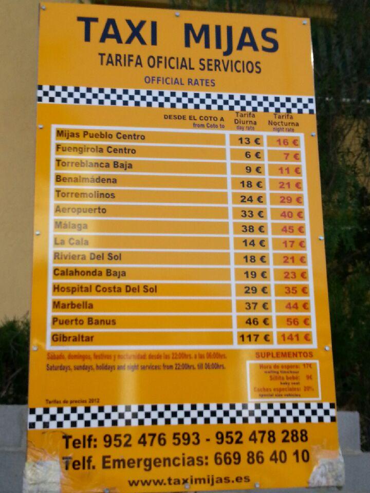 Taxi Fares El Coto