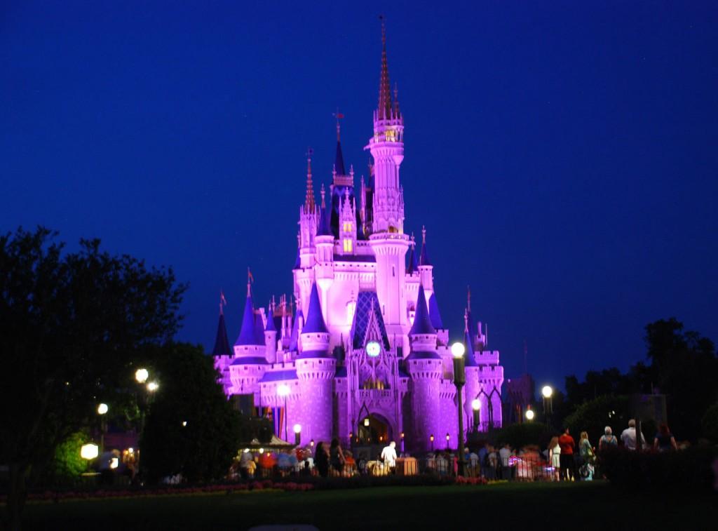 Christmas at Disneyworld, photo showing the Disney Cinderella Castle illuminated at night for the parade