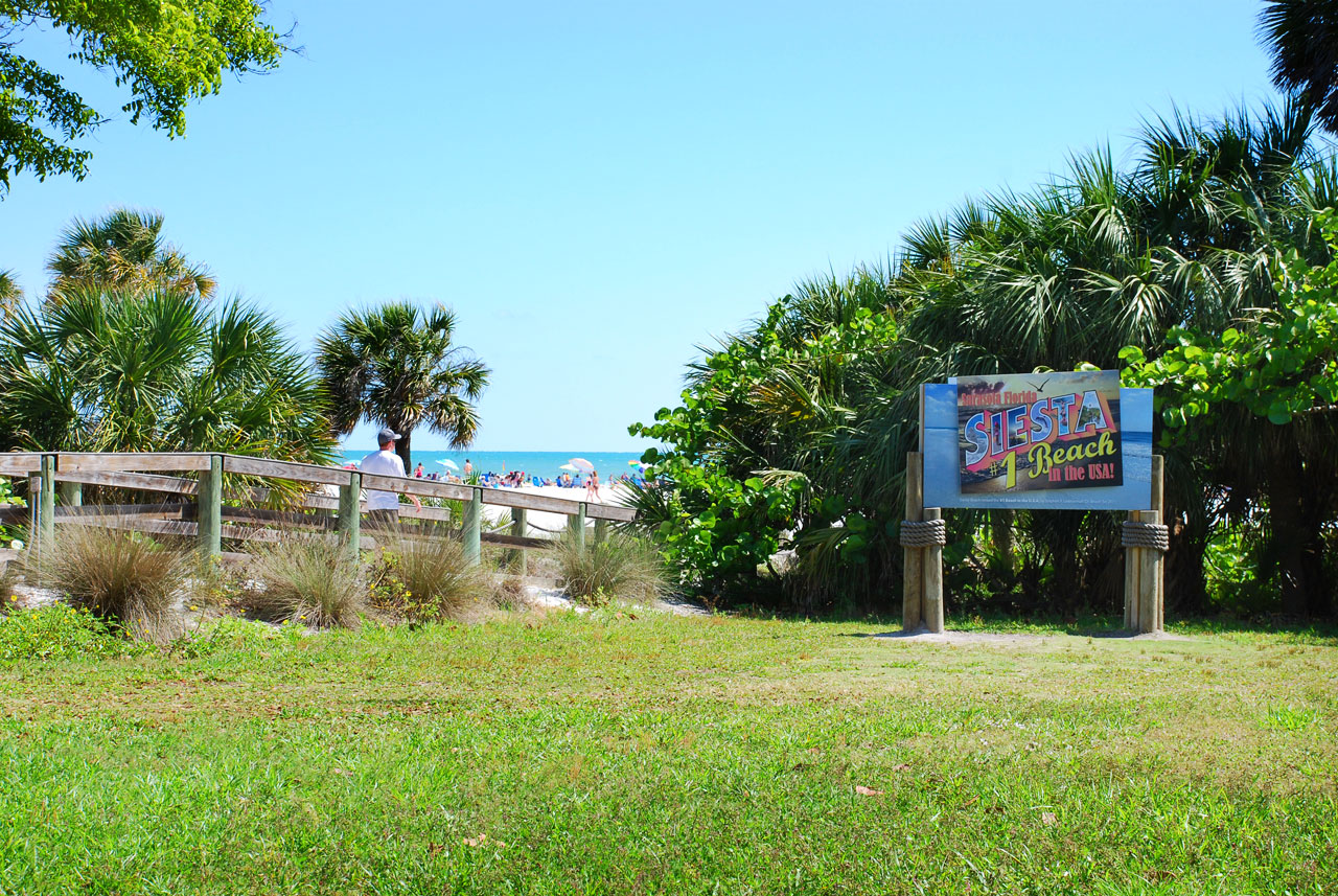 Siesta Beach, Sarasota in Florida - Ranked #1 Beach in the USA by Stephen P. Leatherman 'Dr Beach' for 2011 - photo shows the sign highlighting the 2011 best beach