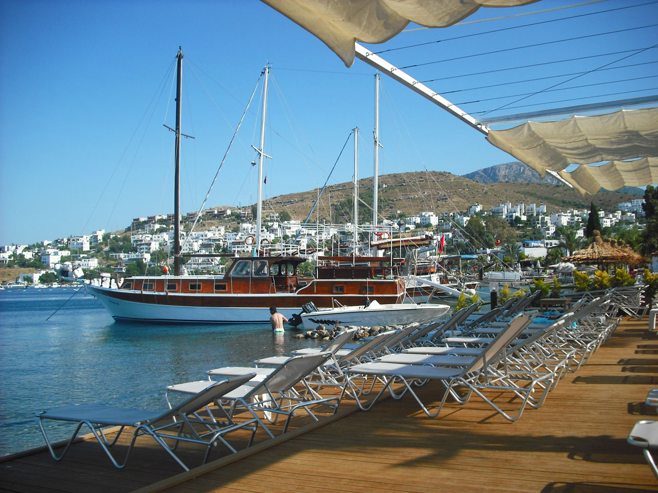Golturkbuku Beach with its luxury yachts, beach clubs and bars