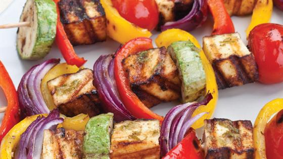 Tasty barbecued Halloumi kebabs