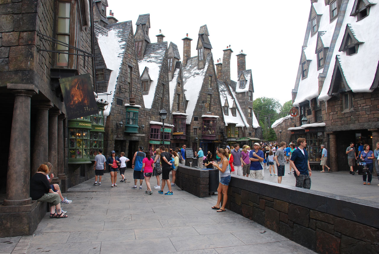 The Wizarding World of Harry Potter, showing all the shops covered in snow