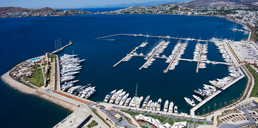 Aerial photo of Palmarina Yalikavak showing all the yachts and boats