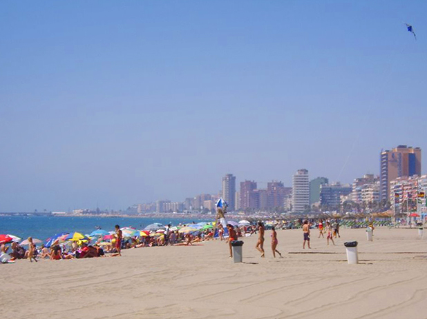 Torreblanca Beach in Fuengirola is about 1km long and only a short walk from the station