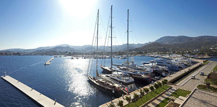 Palmarina in Yalikavak with its large yachts and boats in the new purpose built marina