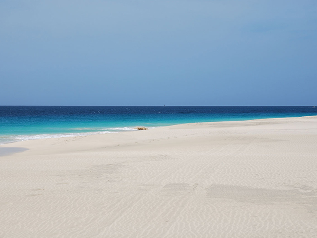 Enjoy a relaxing break near Sal Beach in Cape Verde with its beautiful white sand and clear turquoise sea