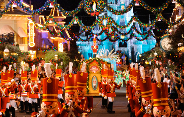 The spectacular Disneyworld Christmas light parade with fireworks and celebrations