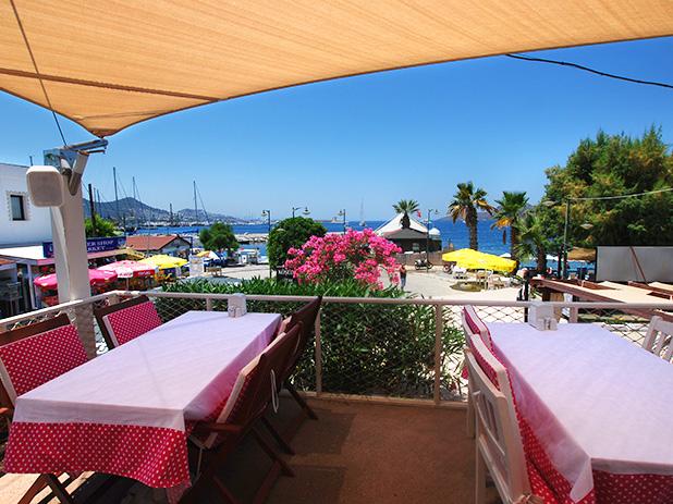 Kosede Steak & Wine House upper terrace with views overlooking the Aegean Sea