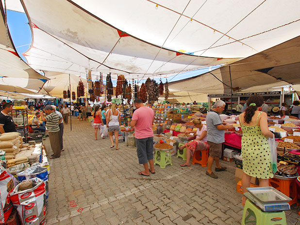 Yalikavak market is held every thursday on the main square and proves very popular