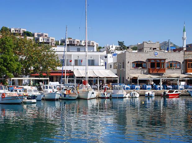 Yalikavak old fishing port lined with restaurants and bars boasting stunning sea views