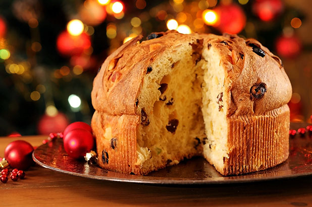 The sweet Panettone bread loaf is an Italian classic served as a dessert