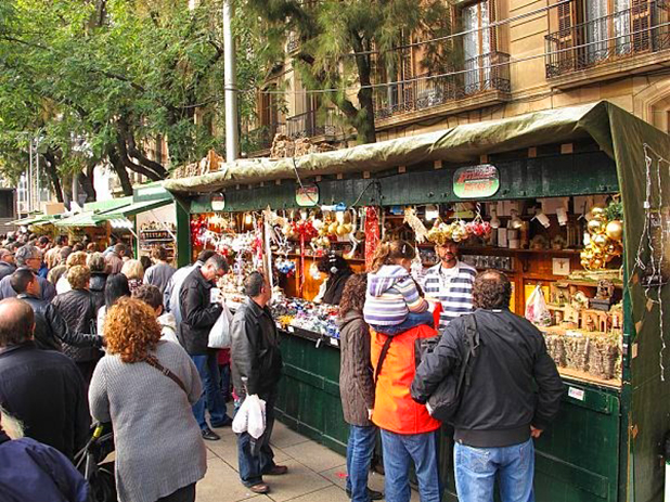 People shopping at the Santa Llucia Christmas Market, Barcelona