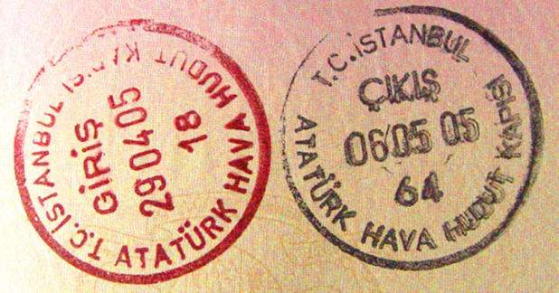 Turkey VISA passport stamps - calculate your days from your departure date