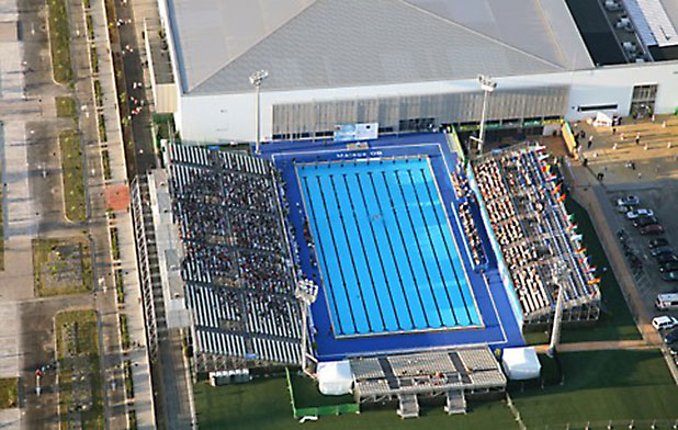 Inacua Aquatic Centre in Malaga, aerial photograph showing the Olympic size pool - photo courtesy of www.visitcostadelsol.com