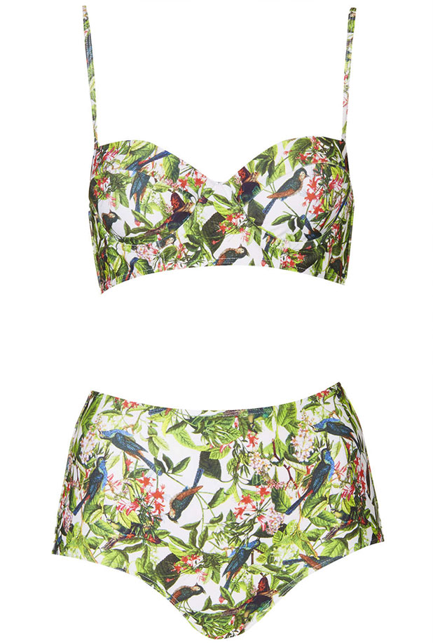 Tropical 50s style waisted bikini bottoms excellent for all shapes