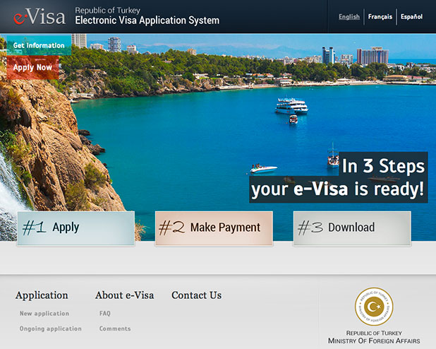A screen capture of the official Government website to apply of your visa at www.evisa.gov.tr