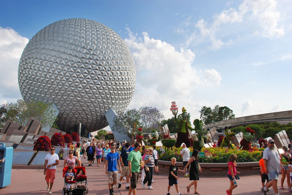 The Epcot (Spaceship Earth shown) is the second of the four parks at Walt Disney World.