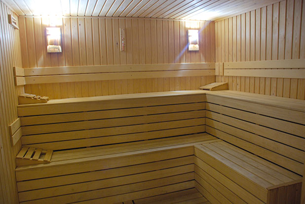 The resort fitness centre has a sauna