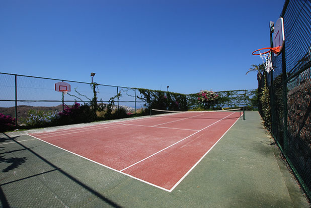Resort tennis courts and basketball courts