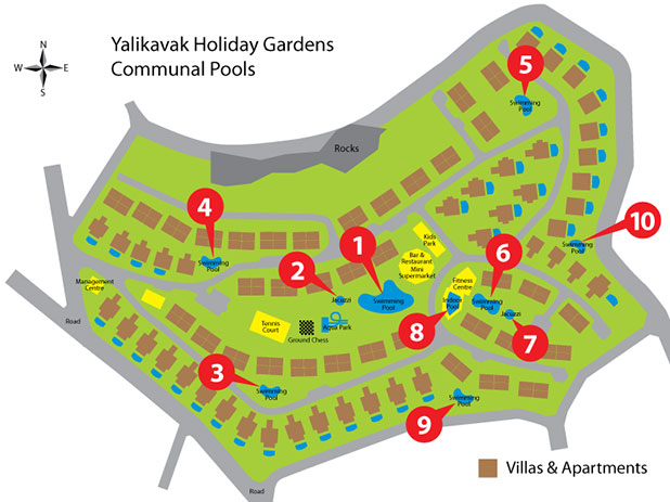 Site plan showing the locations of the 10 communal pools within the Yalikavak Holiday Gardens Resort