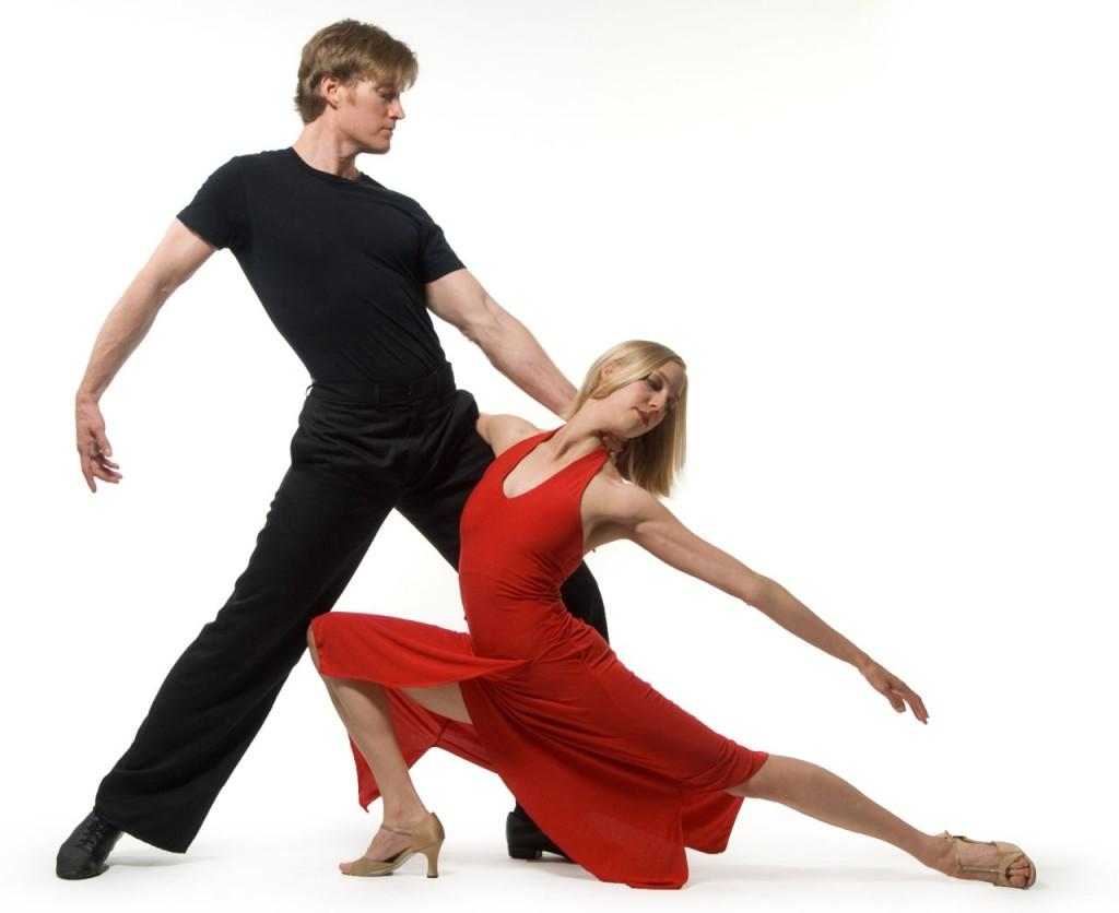 A couple dancing salsa