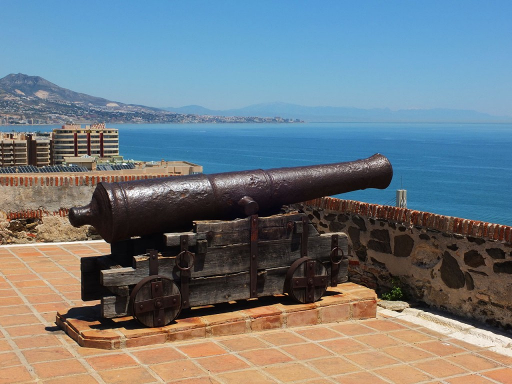 Photograph showing the stunning views and one of the cannons on the Sohail Castle, Fuengirola