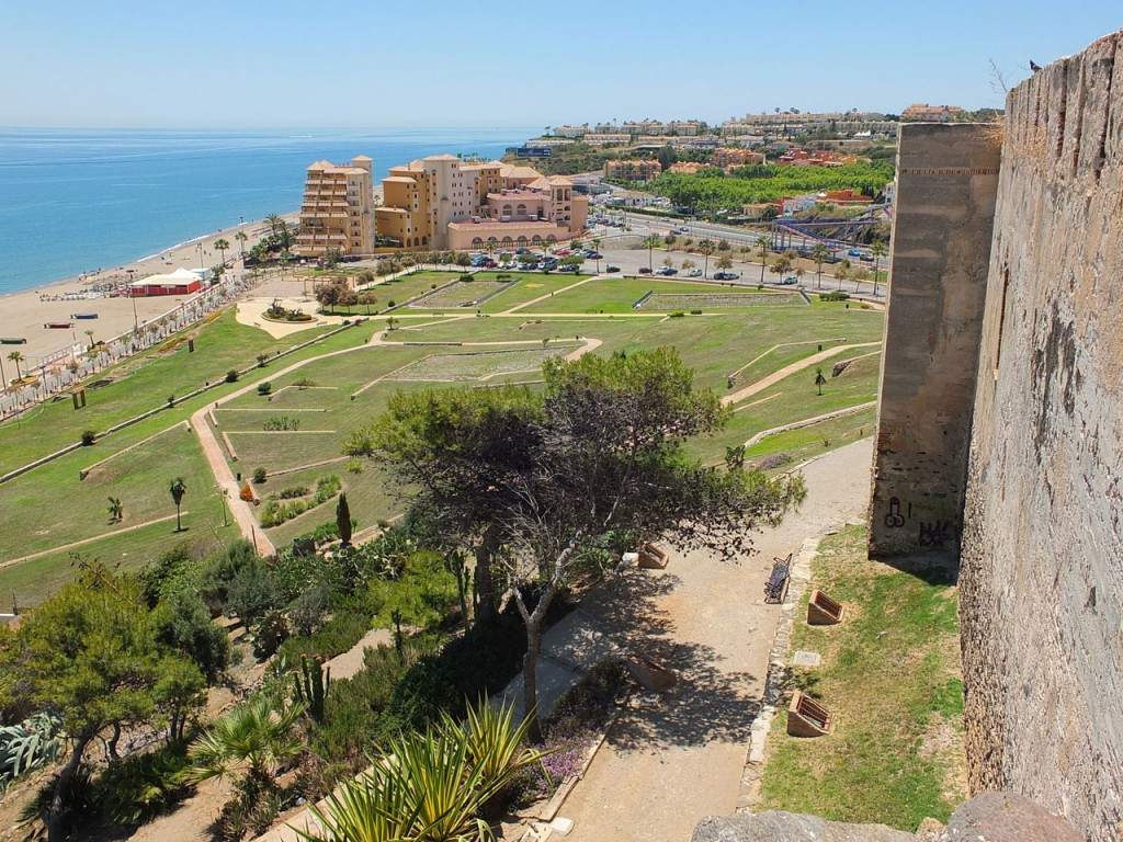 Fuengirola's Sohail Castle, showing the panoramic views, grounds and zig zagged paths