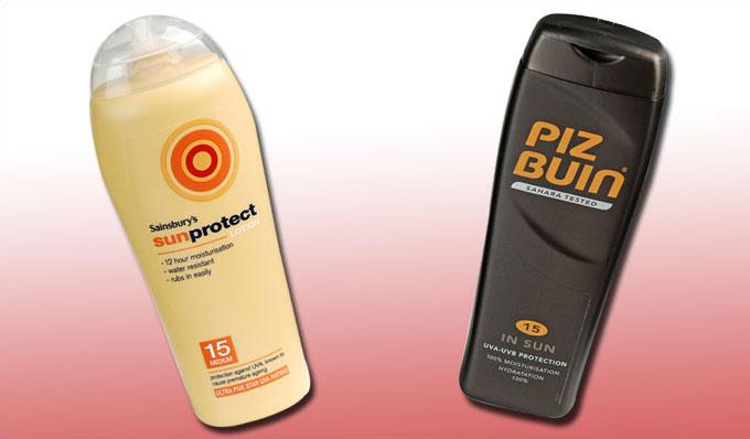 Sainsbury's Sunprotect and Piz Buin sun cream