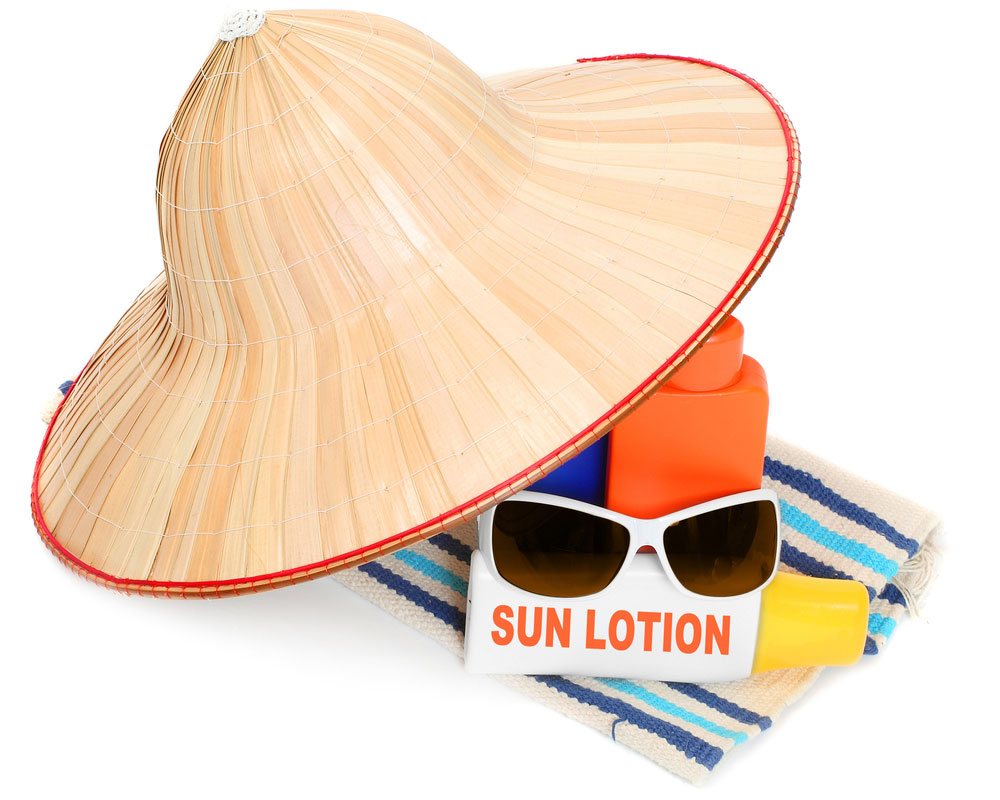 Stay safe in the sun with a good hat, sunscreen, glasses and plenty of fluids