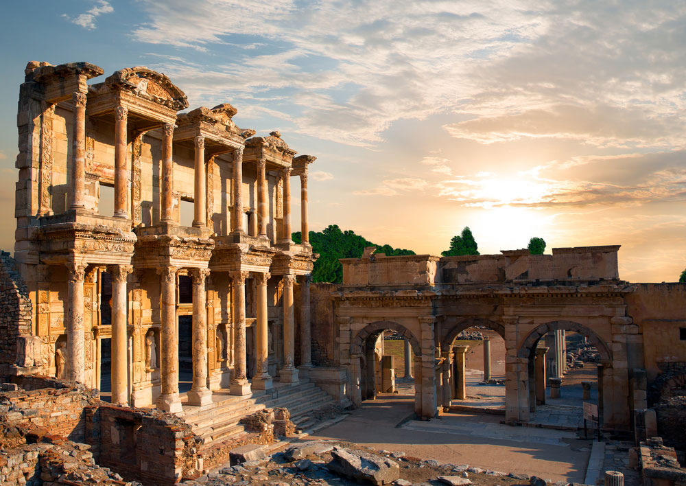 Ephesus is one of the Seven Ancient Wonders of the World, pictured is the Celsus Library