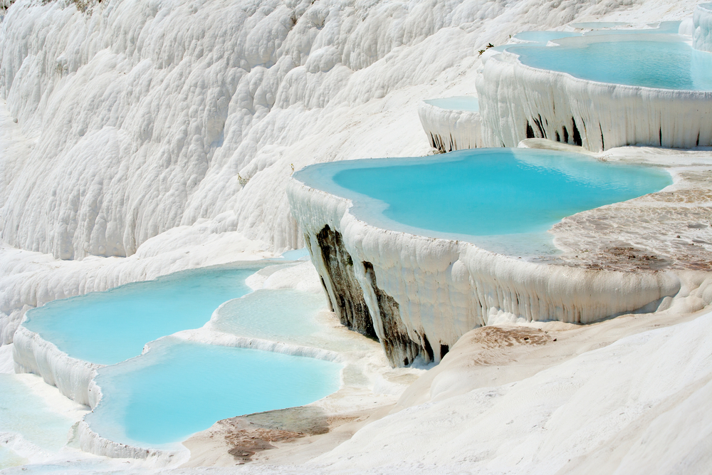 Pamukkale is a UNESCO World Heritage Site: bathe in the natural hot springs