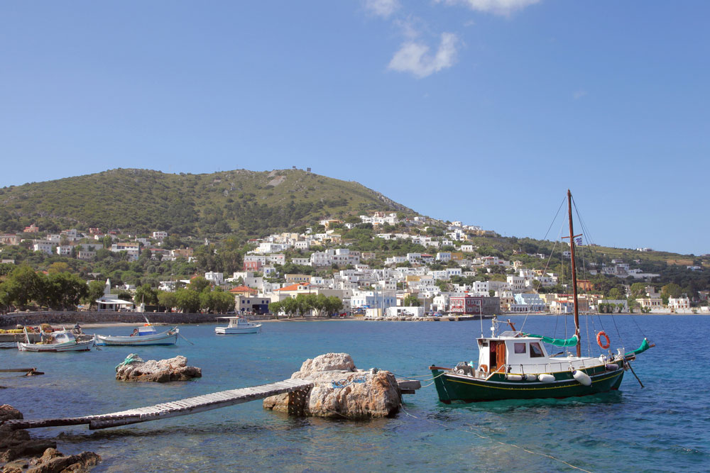 Leros Island showing fishing boats in the harbour of Agia Marina