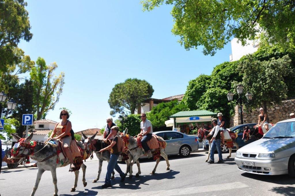 Tourists enjoying the burro taxis ride in Mijas