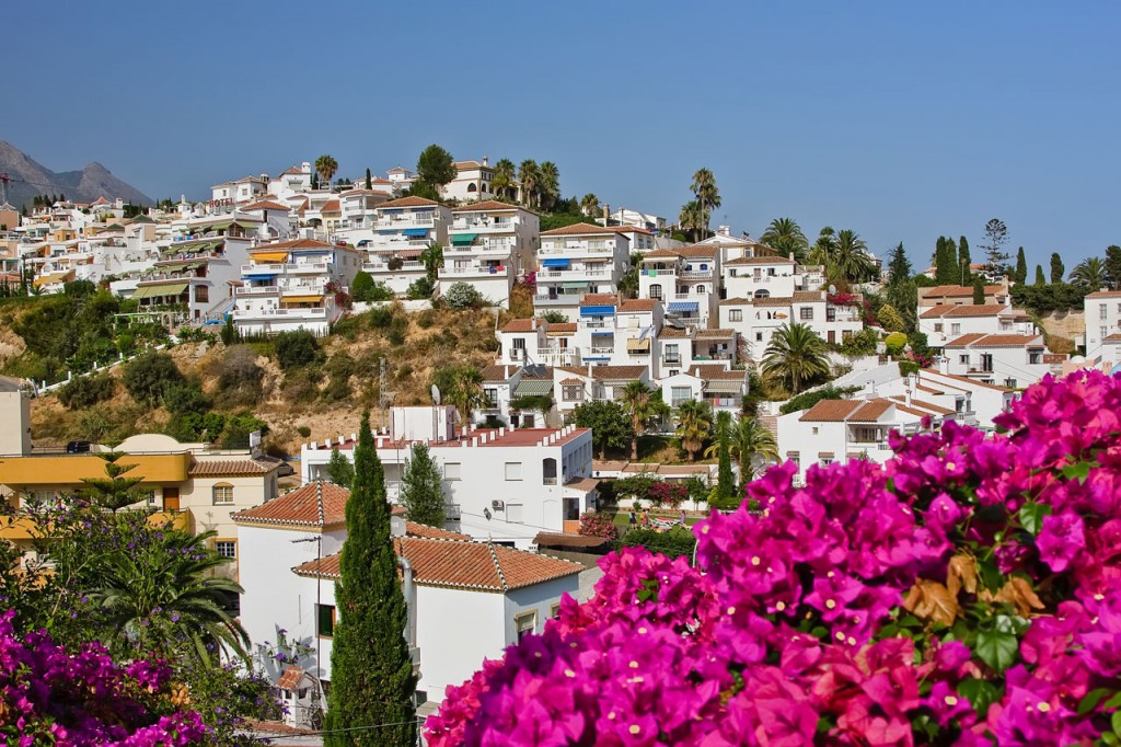 Andalucia is a beautiful region and only a short flight from the UK, Nerja showing whitewashed houses